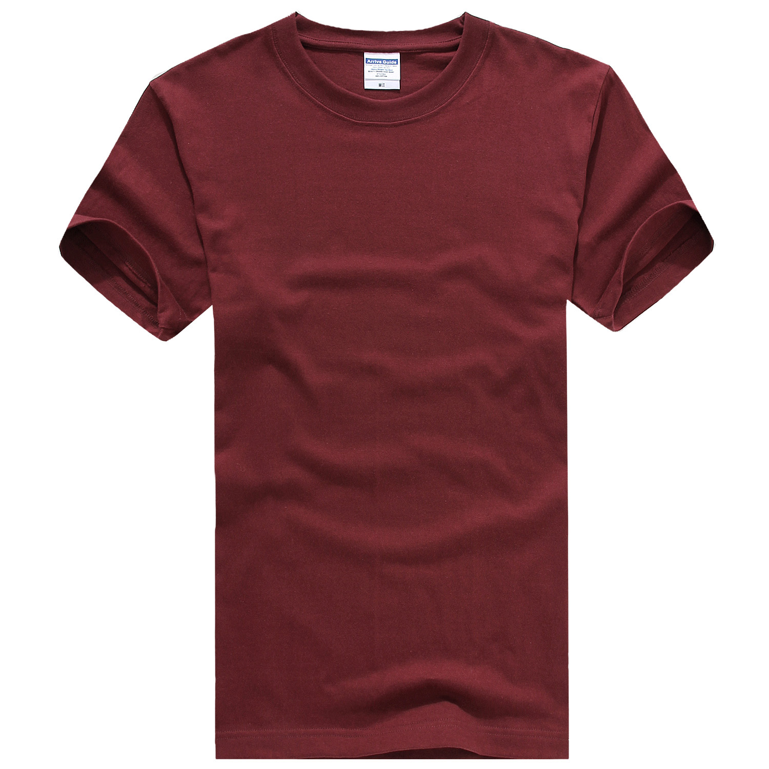 Round Neck Short Sleeve [wine Red]