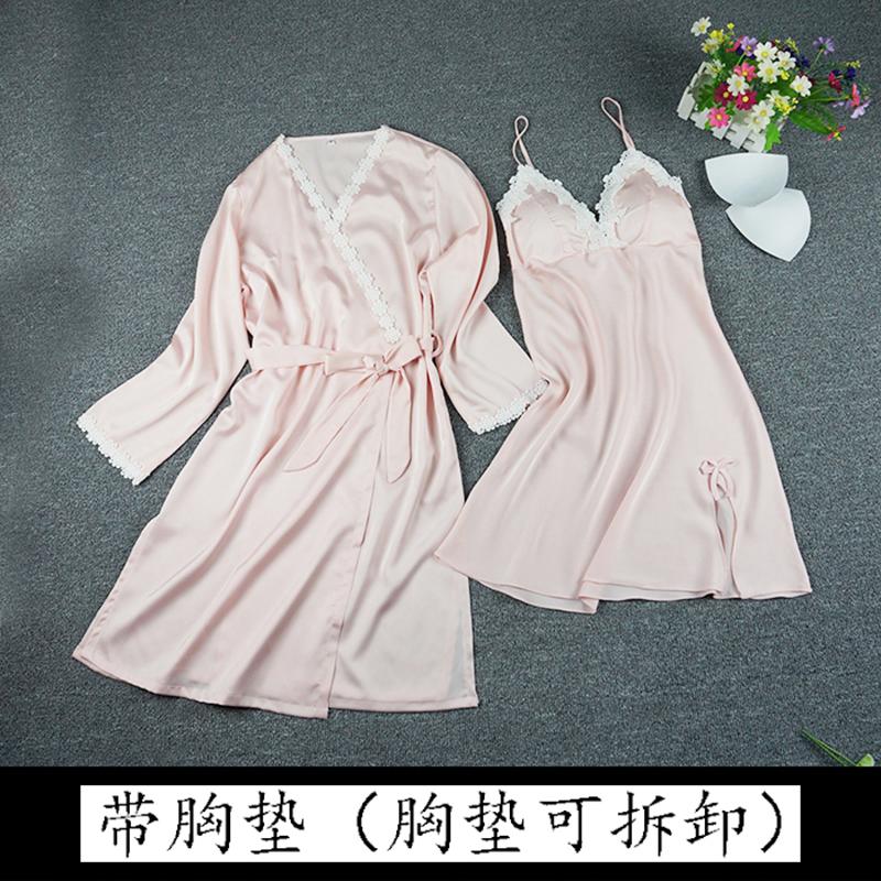 Лифчик шелк шелк пижама женщина лето сексуальный строп дамское белье ночное белье костюм двойка шелк льда домой одежда весна