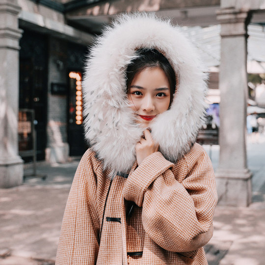 New Korean version of the loose houndstooth hooded large fur collar long section thick horns buckle wool coat female winter students