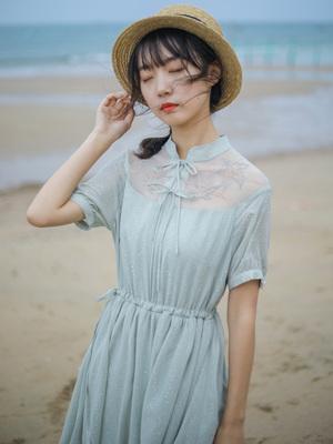 微笑向暖烫金刺绣雪纺连衣裙智熏裙 法式 高腰复古裙子夏新款