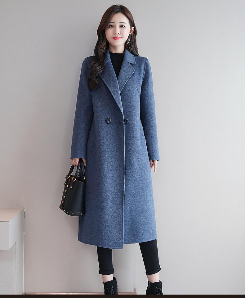 红色双面羊绒大衣女式羊毛呢子中长版新款双面呢毛呢外套秋冬详细照片