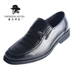 圣大老头2019春季新款商务皮鞋中年一脚蹬懒人鞋套脚爸爸男士皮鞋