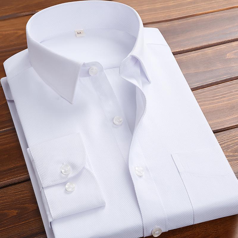 春季白衬衫男士长袖韩版修身纯色休闲黑色短袖衬衣寸商务职业衣服