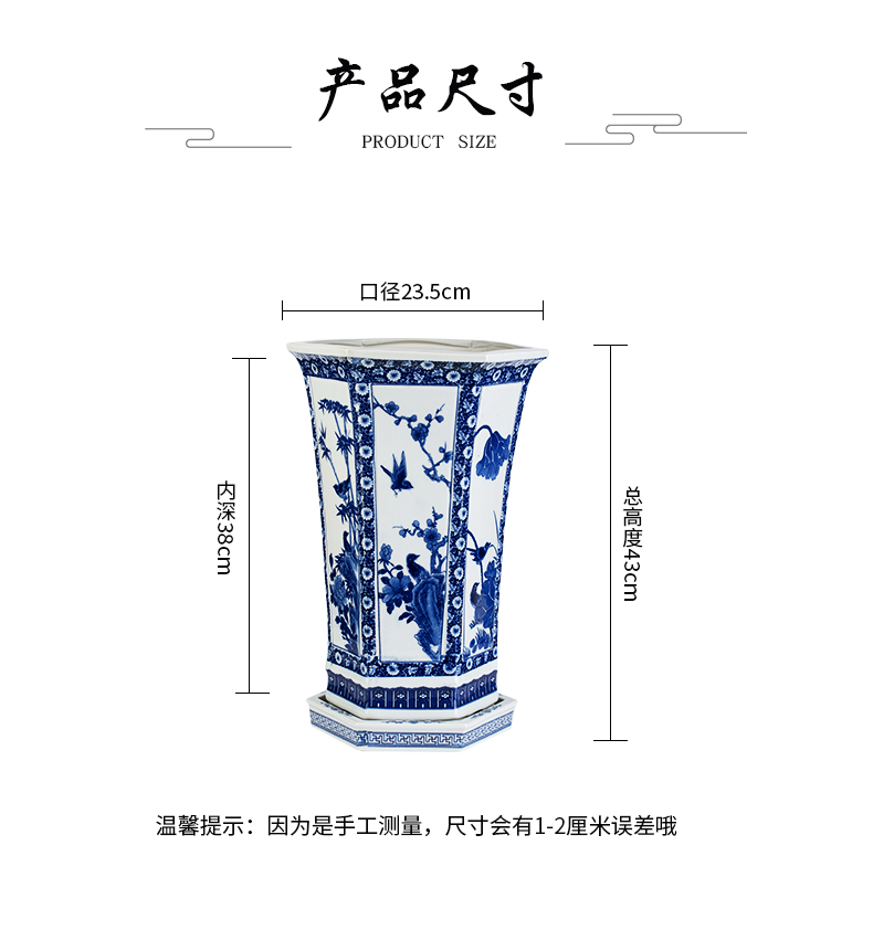 Jingdezhen blue and white porcelain hand - made six - party orchid flower POTS large potted the plants with tray box art potted flower