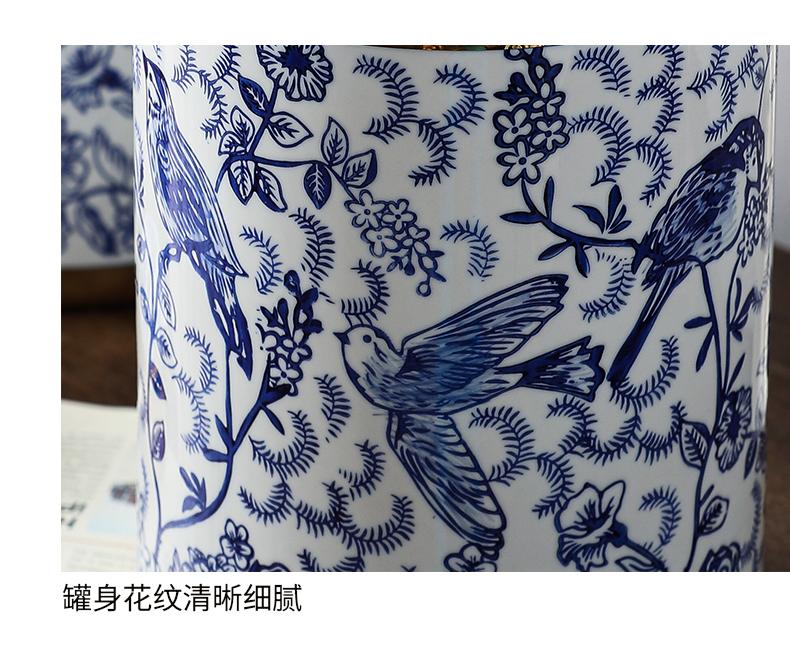 Light wind key-2 luxury gold - plated vase of blue and white porcelain ceramic vases, ceramic vase furnishing articles example room sitting room ceramic vase