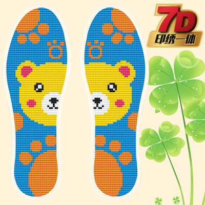 Cross stitch insole printing 7D pinhole insole semi-finished cotton flower insole absorbs sweat and penetrates male and female panda palms