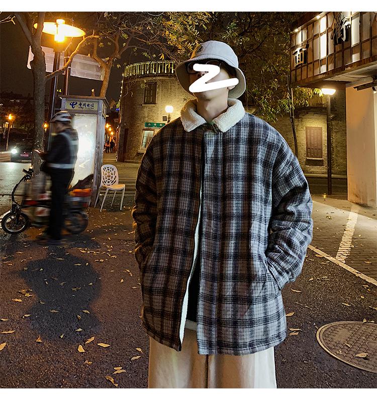 冬季新款羊羔绒内胆格纹撞色翻领棉服外套A201-XW179P125
