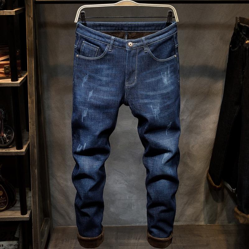 冬季裤子男日系加绒加厚宽松牛仔裤弹力大码潮流时尚复古哈伦长裤