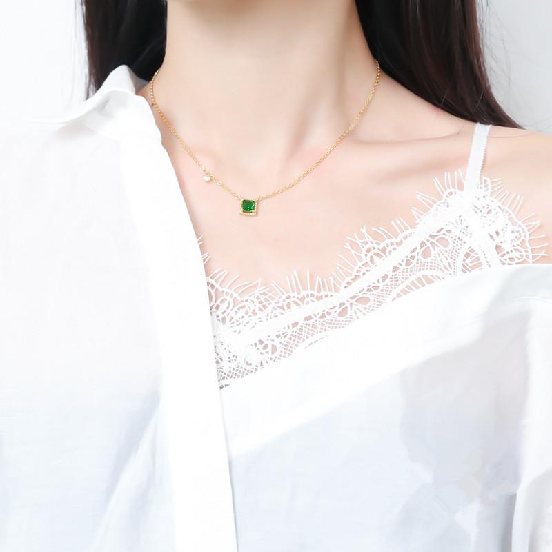 眼观纯银方形祖母绿项链女 轻奢气质日系锆石短款锁骨链颈链饰品