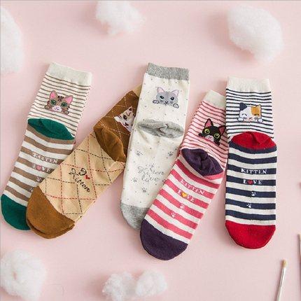 5双日系中筒女袜子韩国学院风卡通春季全棉可爱学生吸汗防臭运动