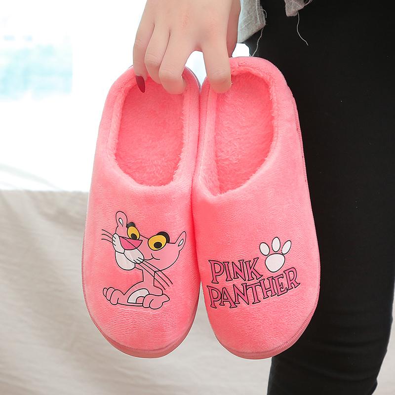 棉拖鞋女ins潮冬季厚底可爱家居家用防滑卡通学生网红粉红豹拖鞋