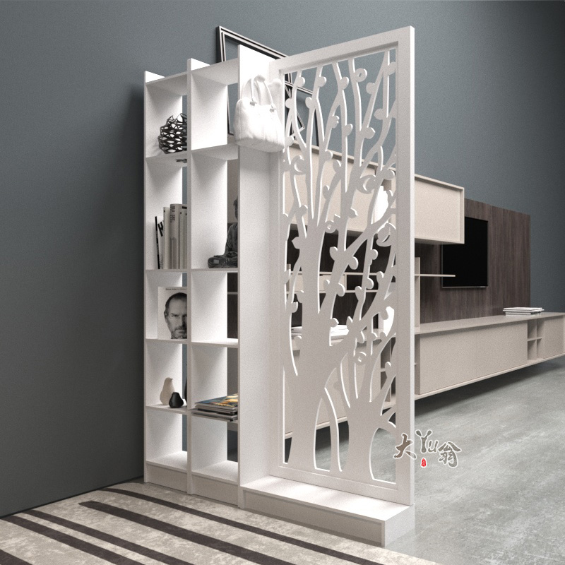 European Style Screen Partition Carved Porch Cabinet Hollow Simple Modern  Partition Cabinet Living Room White Folding Screen Double Sided Foyer