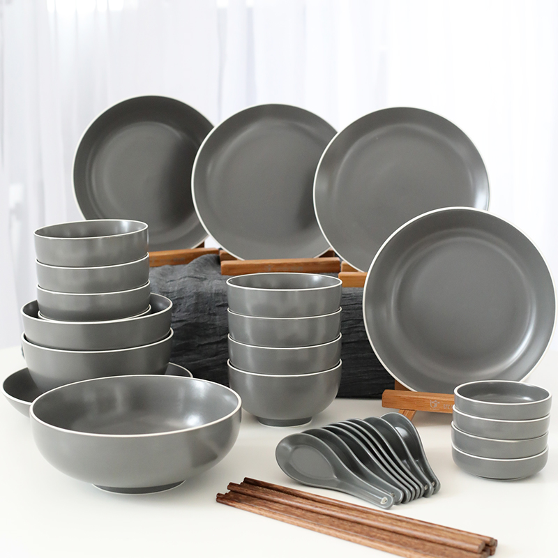 Nordic dishes set simple ceramic tableware household tableware Western dishes 4 people creative bowl new bone ... & Nordic dishes set simple ceramic tableware household tableware ...