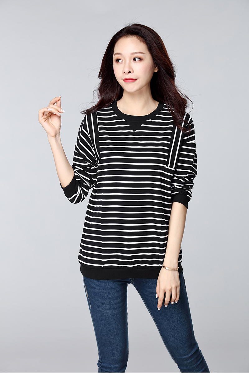 加肥加大码女装胖mm春装2020新款韩版黑白条纹衫长袖T恤女打底衫商品详情图