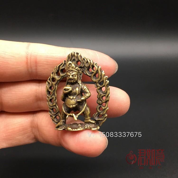 珍品古玩錢幣擺件老黃銅寸佛 藏教藏密黑財神不動冥王佛光普照 佛像吊墜佛祖小擺件