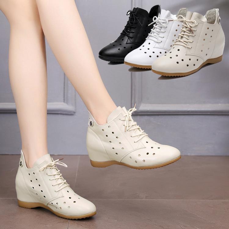 春秋女鞋平底镂空短靴v女鞋内增高真皮女靴夏大码圆头单靴洞洞系带