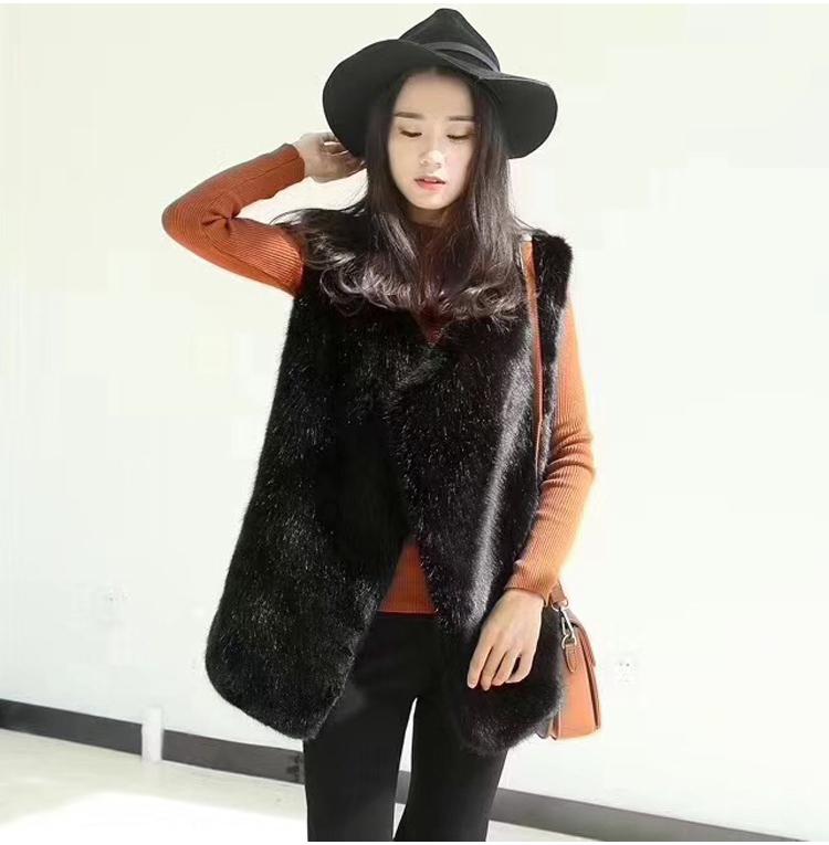 2019韩版坎肩时尚环保狐狸毛女背心皮草马甲女中长款