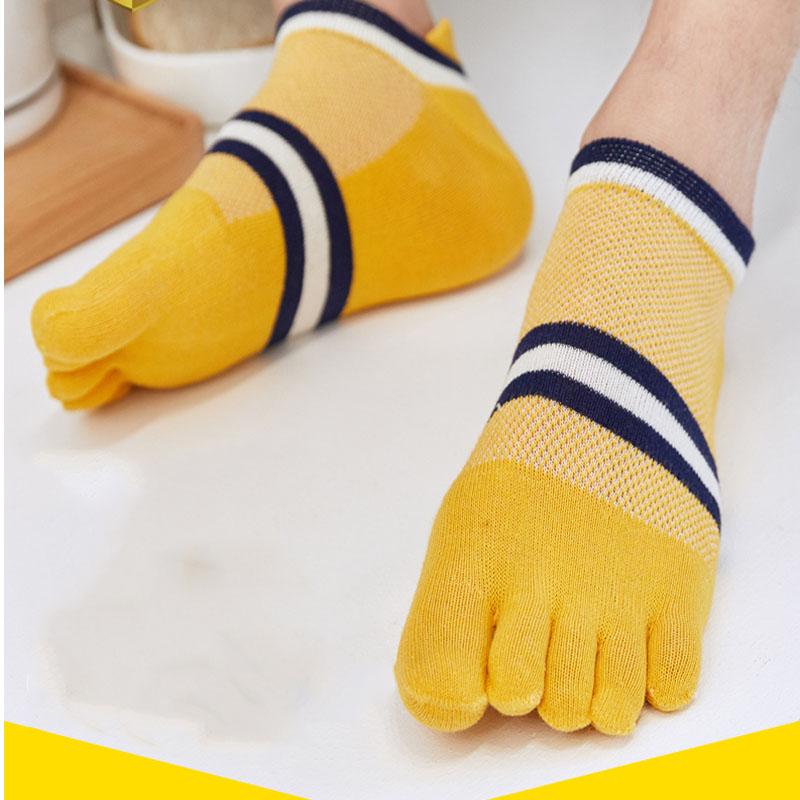 播扣五指袜男士纯棉短筒防臭夏秋季薄款脚趾男袜全棉中筒分趾袜子