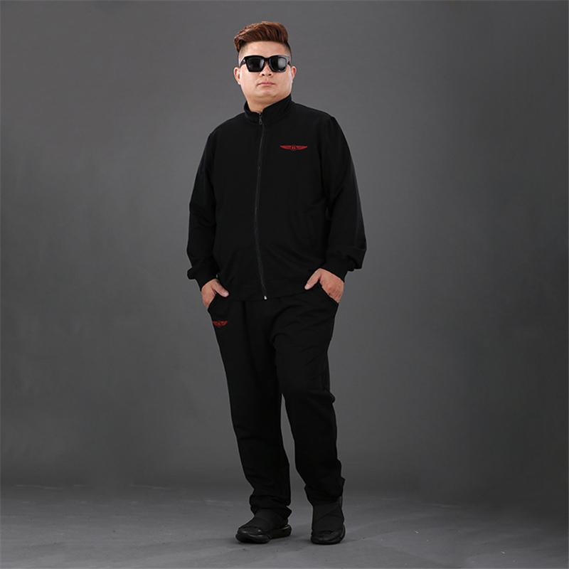 中老年加肥加大码胖子爸爸装长袖两件套