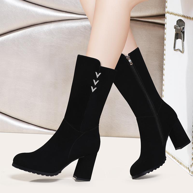 2019新款春秋冬季百搭高跟瘦瘦网红长靴女鞋子中筒靴马丁靴女靴子