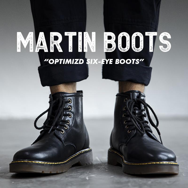 马丁靴男士中帮靴子高帮工装靴英伦风男鞋冬季加绒保暖黑色皮靴潮