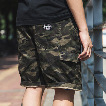 Camouflage shorts male tide brand net red summer Japanese tooling men's casual trend loose pocket male tide five-point pants