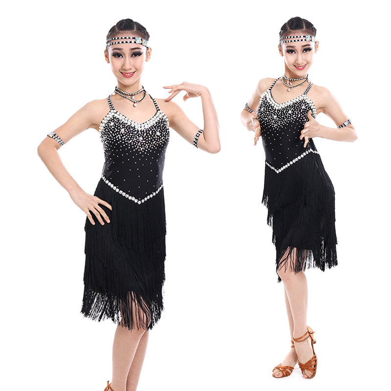 girl tassel Latin dance dress Latin dance performance clothing girls bright diamond tassel Latin dance skirt children Latin competition clothing