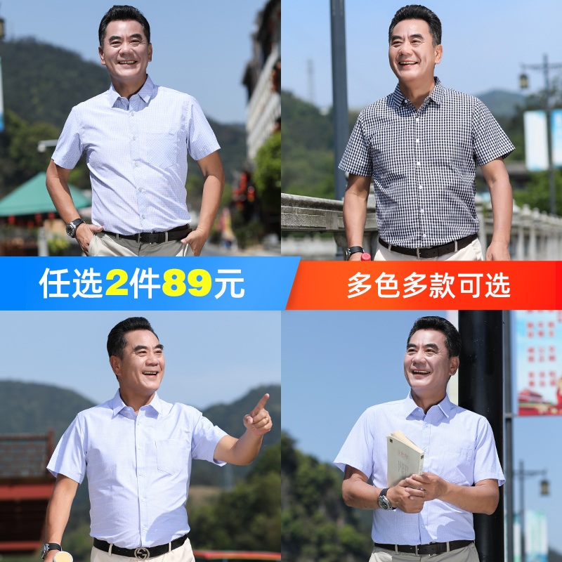 Luzhu summer father's clothing plaid short-sleeved shirt middle-aged and elderly men's father's day clothes casual thin shirt men