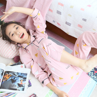Girls pajamas spring and autumn cotton girls in the big children thin section summer princess cute children's home service suit