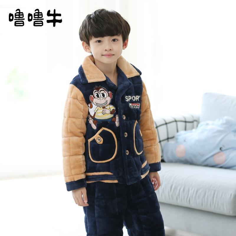 【断码】儿童睡衣男童冬季加厚款夹棉 3-5岁小童宝宝珊瑚绒家居服