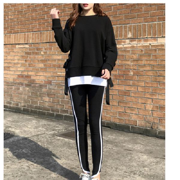 2020 Spring and Autumn new Korean version of leisure running sports suit fake two loose-fitting fashion students yang air-guard girl 20 Online shopping Bangladesh