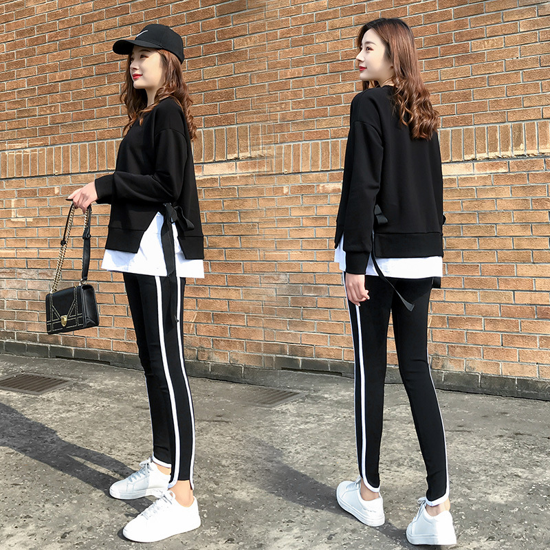 2020 Spring and Autumn new Korean version of leisure running sports suit fake two loose-fitting fashion students yang air-guard girl 24 Online shopping Bangladesh