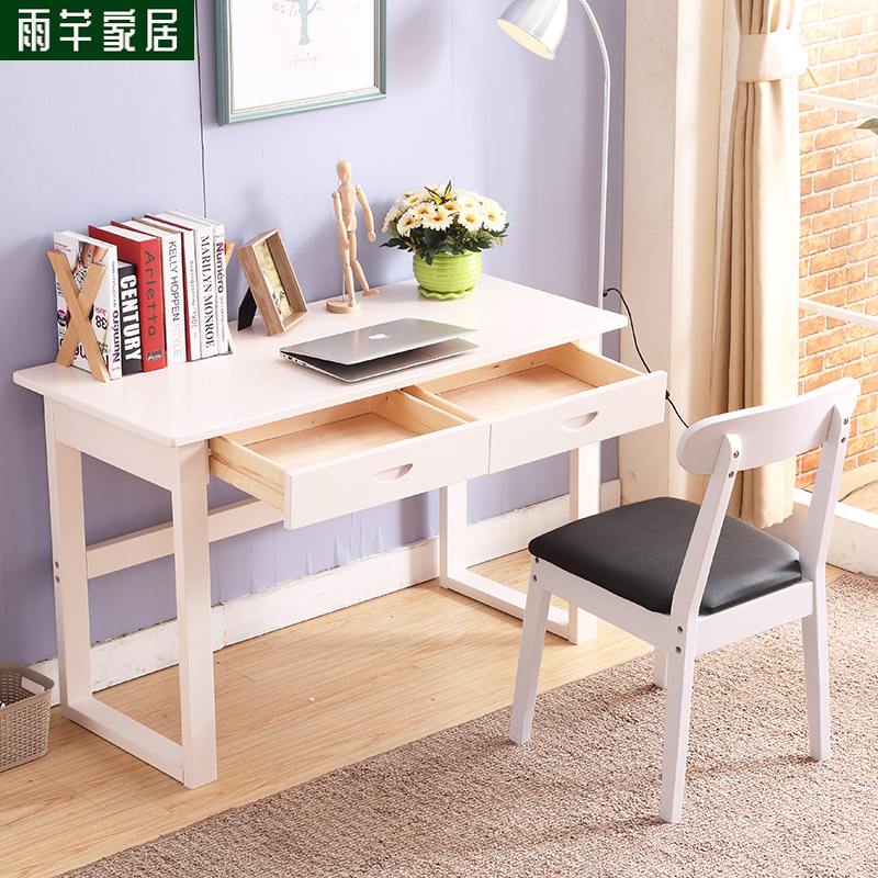 Solid Wood Desk Simple Modern Computer Desktop Home Student White Small Table