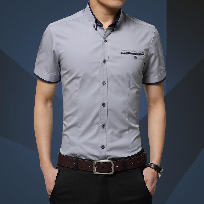 夏季日常棉纯色短袖商务工作服正装休闲男款衬衣修身男衬衫纯免烫