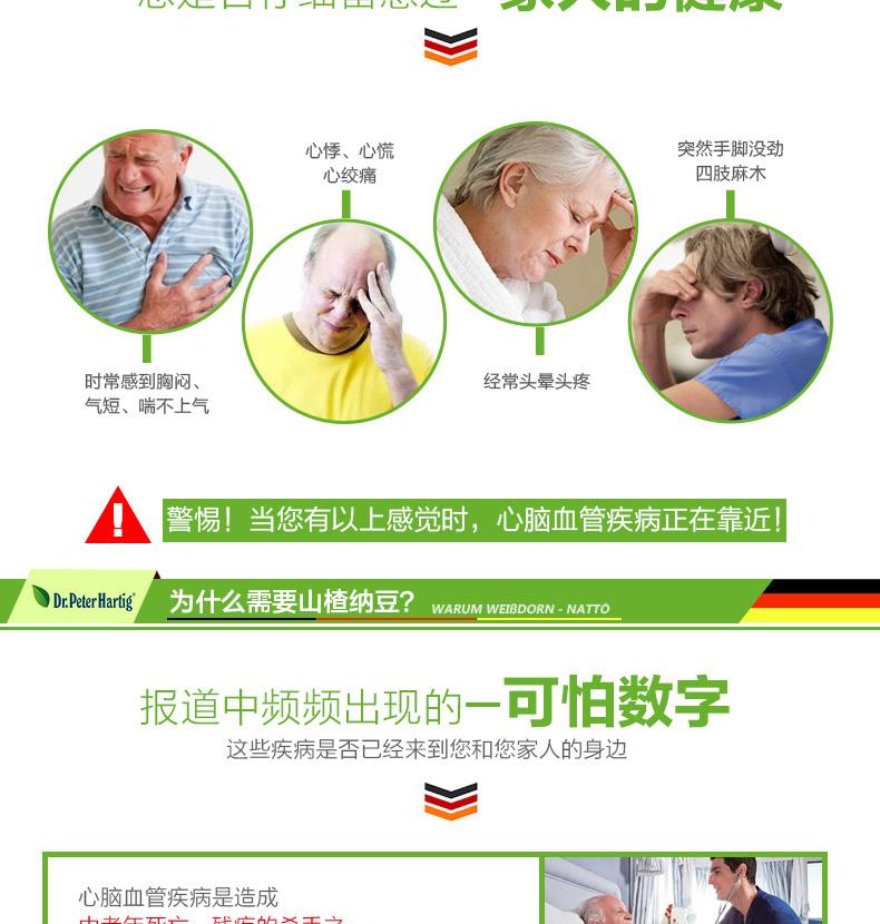 德国Dr.Peter Hartig浓缩山楂纳豆激酶胶囊60粒 维护心脑血管血栓 产品系列 第2张