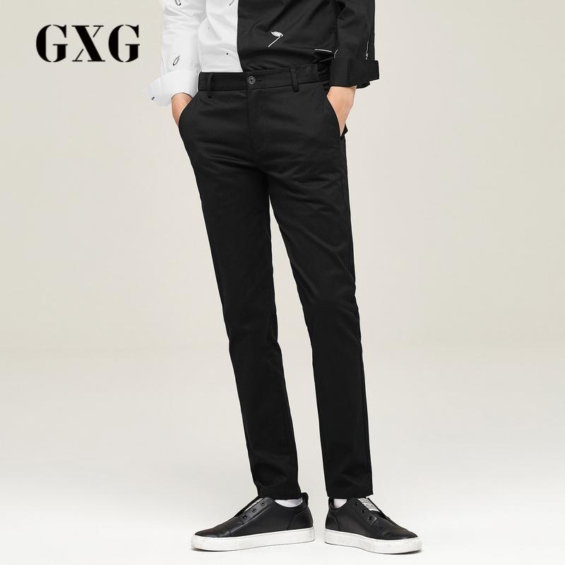 GXG男士秋季黑色微弹修身男装拼接拉链门襟皮革直筒v男士长裤