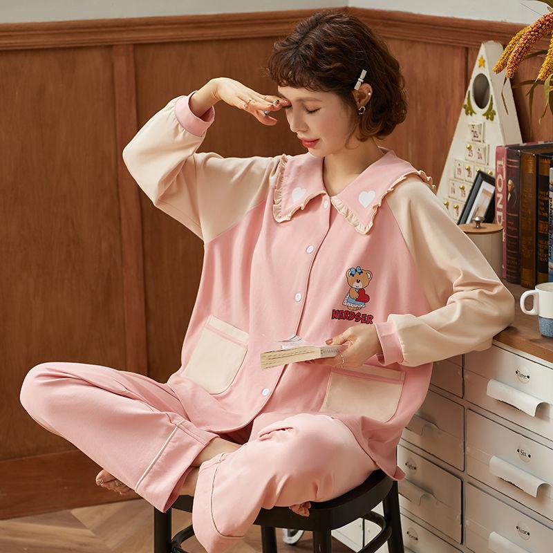 长袖睡衣女纯棉学生春秋季甜美可爱韩版女士薄款秋冬家居服
