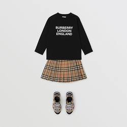 BURBERRY/ BURBERRY long-sleeved printed top with logo, 80316621