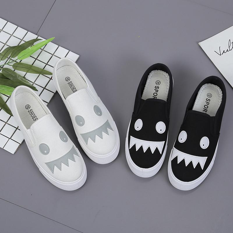 Ins rất nóng một chân nhỏ màu trắng giày rửa giày vải sinh viên nữ giản dị chic thấp để giúp giày phẳng 2018