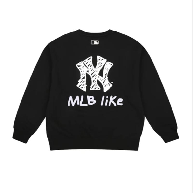 韩国MLB卫衣女圆领2019秋冬季新款宽松ins风NY洋基队like潮男T恤