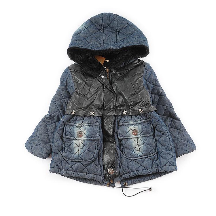 Зазор девочки закрытый хлопок подбитый утолщённый с дополнительным слоем пуха ватник пальто теплый пальто бесплатная доставка ребенок наряд зима