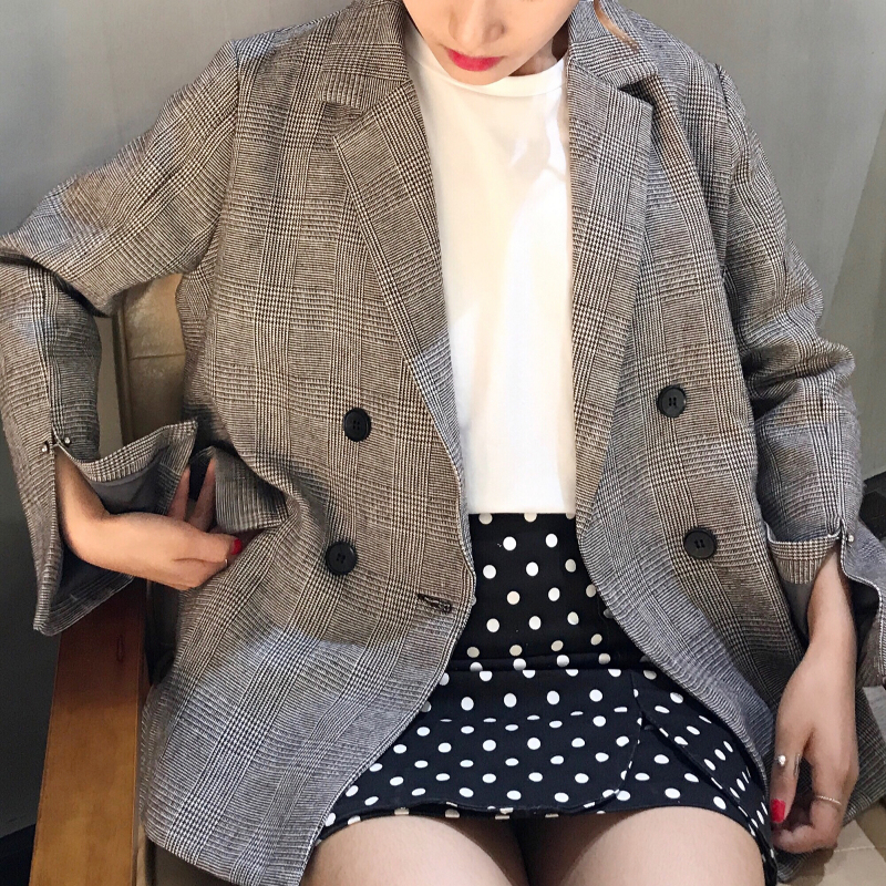 Осень новый корейский chic мода отворот двубортный ретро плед дикий длинный рукав костюм пальто женщина студент