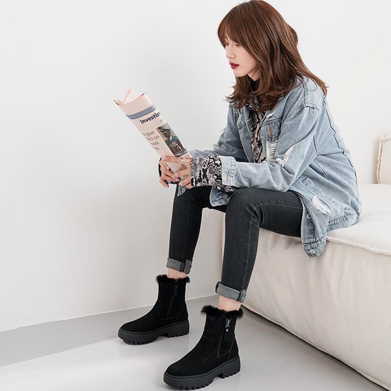 2019冬季新款雪地靴女中筒时尚百搭短靴加绒加厚防滑厚底保暖棉鞋
