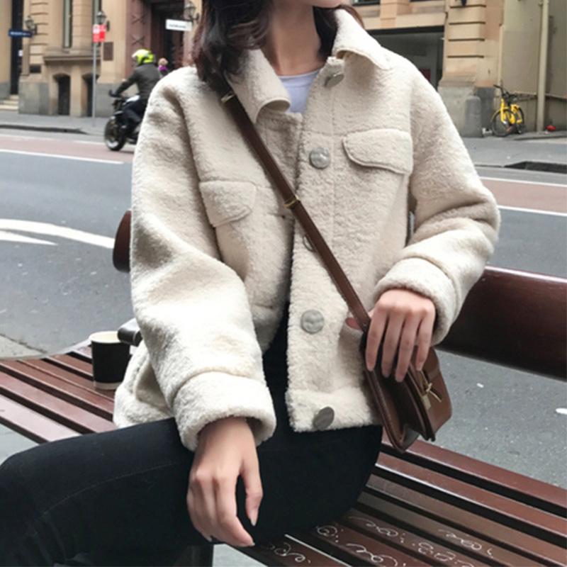 2019冬季新款韩版单排扣小个子短款仿羊羔毛外套女学生宽松上衣限100000张券