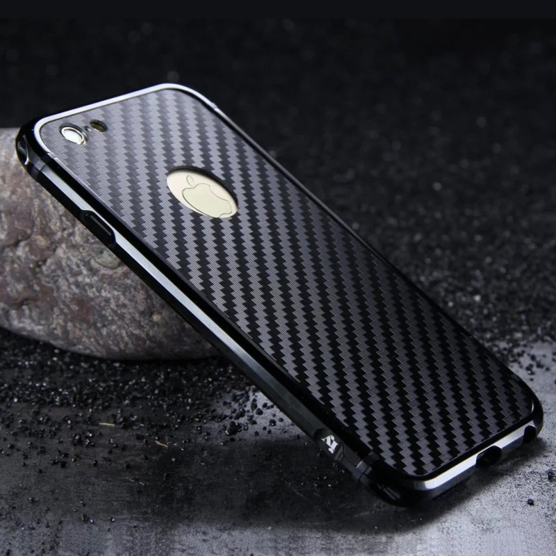 iy Rainbow Aluminum Metal Bumper Carbon Fiber Back Cover Case for Apple iPhone 6S Plus/6 Plus & iPhone 6S/6