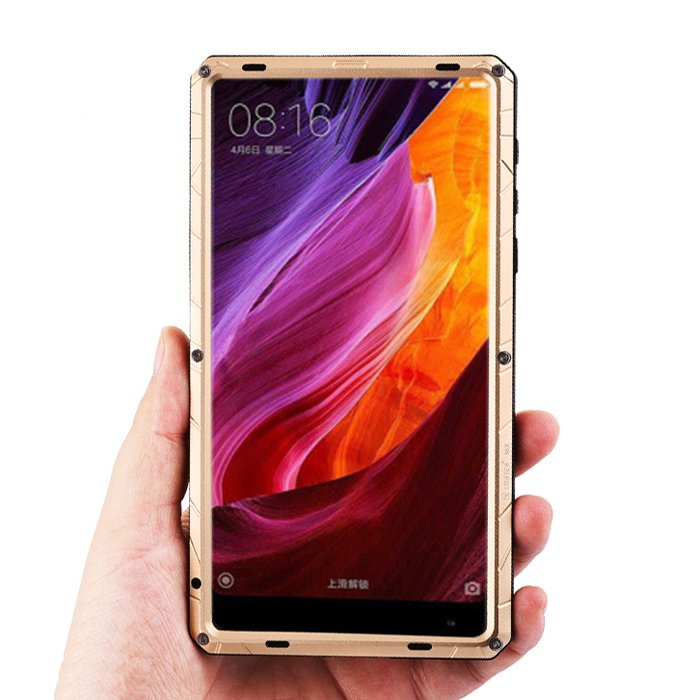 iMatch Water Resistant Shockproof Dust/Dirt/Snow-Proof Aluminum Glass Metal Military Heavy Duty Case Cover for Xiaomi Mi MIX