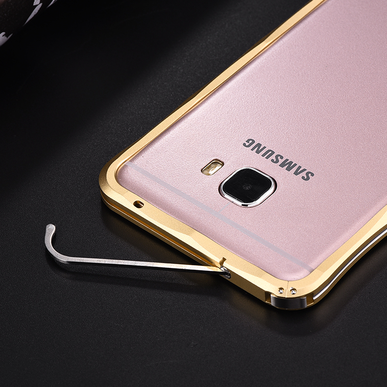 iMatch Slim Light Aluminum Metal Shockproof Bumper with Kickstand for Samsung Galaxy C7 C7000 & C5 C5000