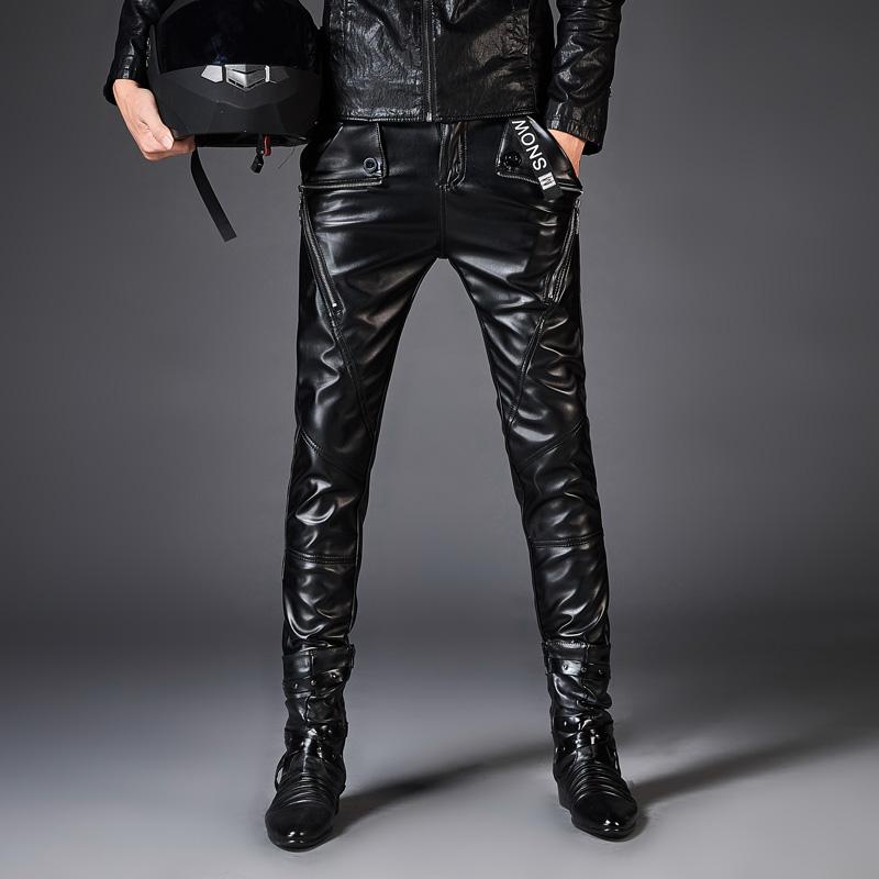 Кожаные штаны мужской 2018 осень-зима новая коллекция мужской Кожаные штаны корейская версия приталенный Ночной клуб модные Локомотивные штаны