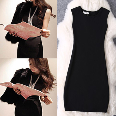 2018 spring new Korean women's large size sleeveless vest skirt temperament Slim package hip dress OL