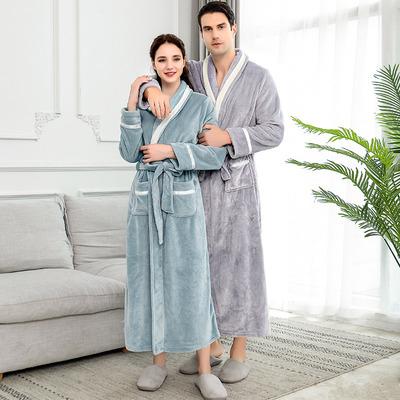 睡袍女冬法兰绒情侣浴袍男士加厚长款一对珊瑚绒大码睡衣春秋冬季